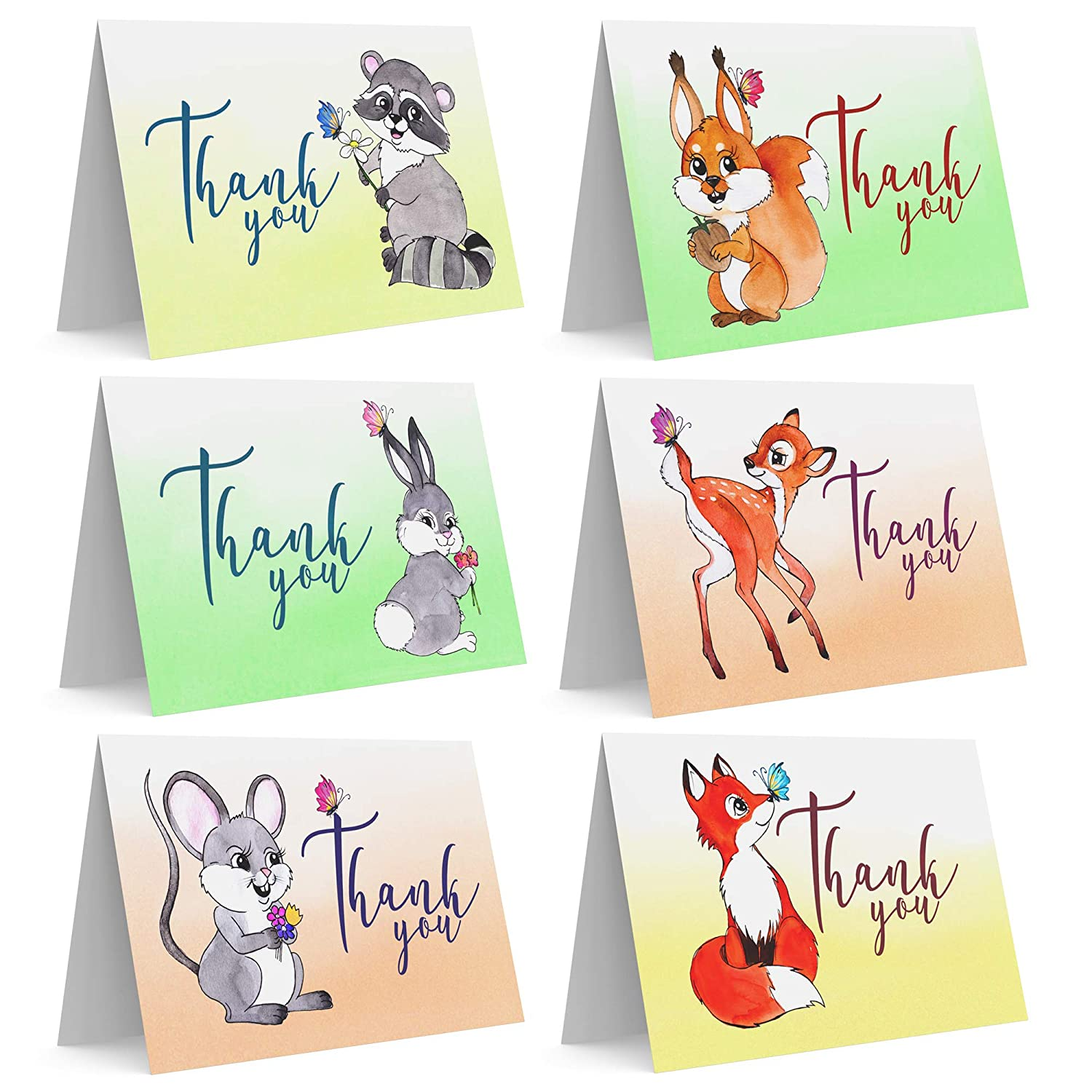 Set Of 36 Assorted Hand Drawn Woodland Animal Thank You Greeting Cards With Envelopes For Baby Boy Girl Toddler And Child Birthday Party