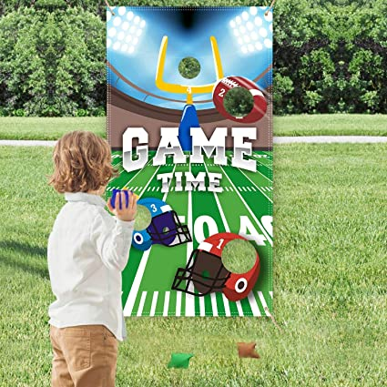 CiyvoLyeen Football Toss Game with 4 Bean Bags for Kids Indoor & Outdoor Football Party Game Football Theme Birthday Party Supplies Super Bowl Decorations