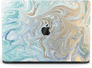 Mertak Hard Case Compatible with MacBook Pro 16 Air 13 inch Mac 15 Retina 12 11 2020 2019 2018 2017 Laptop Luxury Touch Bar Abstract Gold Glitter Plastic Protective Turquoise Paint Clear Cover