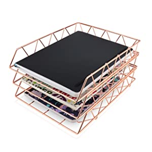 3 NRU: 3 Tier Organizer, File Tray, Rose Gold, Metal, Letter Tray, File Organizer
