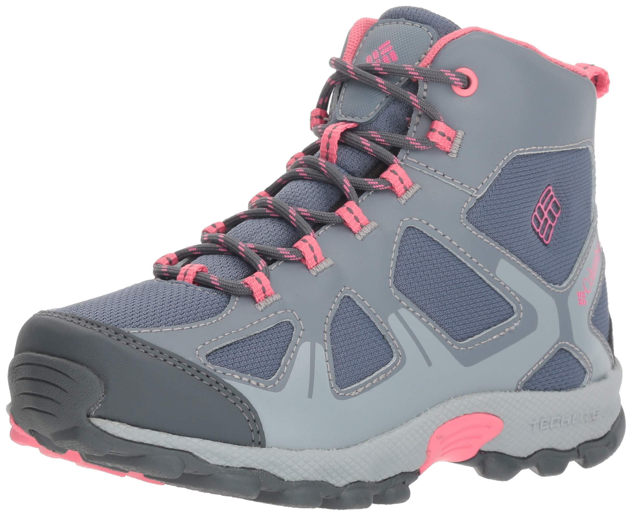 Columbia Girls' Youth Peakfreak XCRSN MID Waterproof Hiking Shoe, Mountain, Camellia Rose, 1 Regular US Little Kid