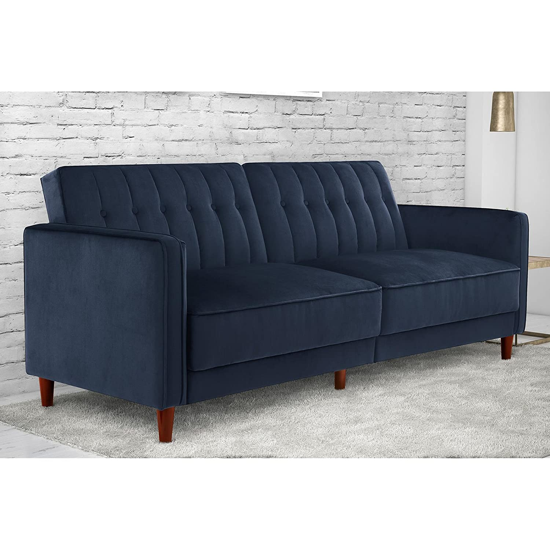 Amazon DHP Pin Velvet Convertible Sleeper Sofa in Blue