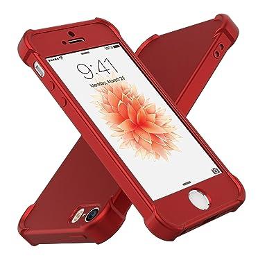 Funda iPhone SE, ORETech iPhone 5S/SE Carcasa Ultra Delgado con [Protector de Pantalla de Cristal Templado Transparente] Anti-Scratch Ligera PC + TPU ...