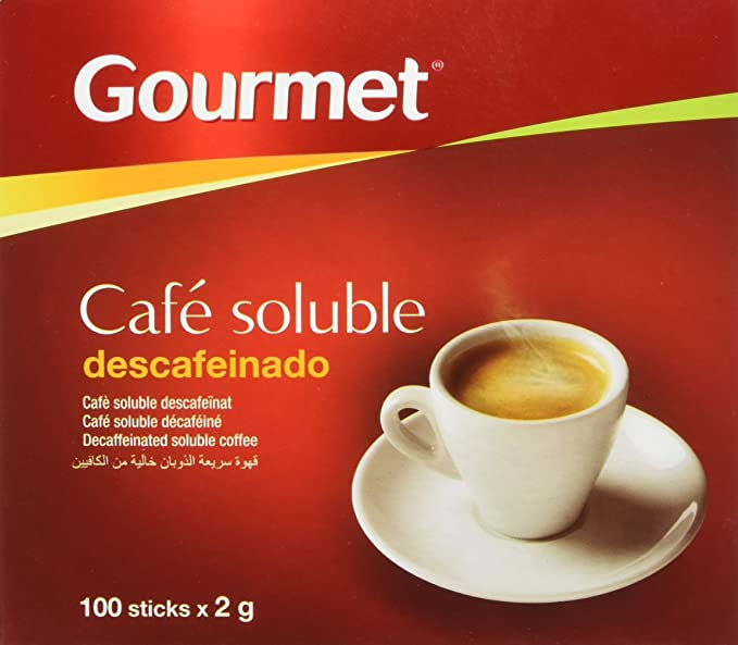 Gourmet - Cafe Soluble Descafeinado - 100 sticks x 2 g - [Pack de 4