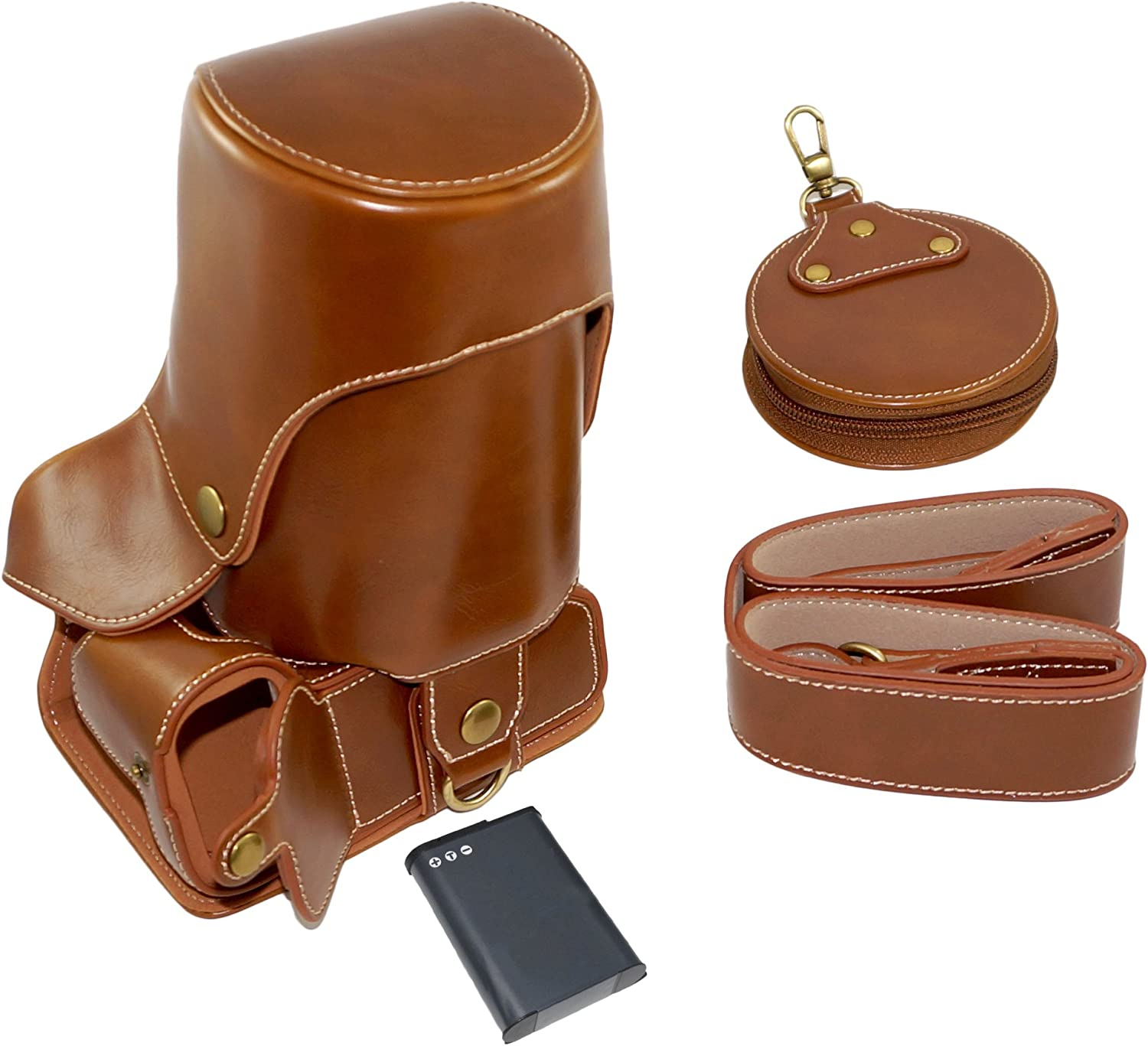 Full Protection Bottom Opening Version Protective PU Leather Camera Case Bag with Tripod Design Compatible For Canon EOS 700D with Shoulder Neck Strap Belt and Storage Card Case Brown