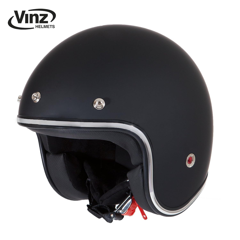 Motorradhelm Vintage in Gr XS-XL XL, Matt Schwarz Jet Helm mit Sonnenventil ECE zertifiziert Vinz Rollerhelm Jethelm Fashionhelm