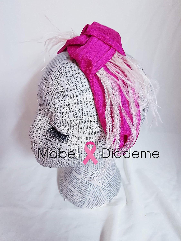 Mabel Diademe Turbante diadema mujer accesorio pelo eventos bodas festivales en fucsia y plumas rosa nude glamour: Amazon.es: Handmade