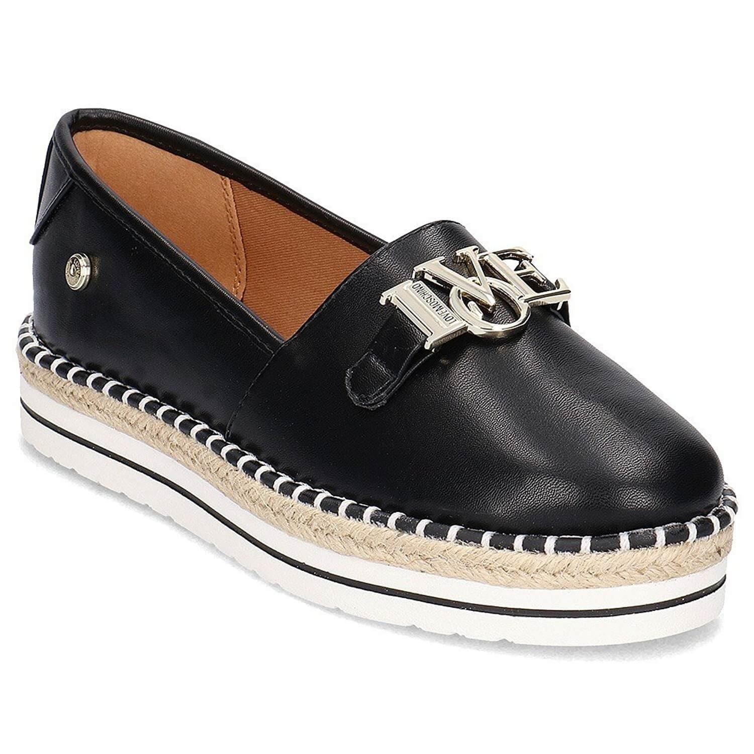 Love Moschino Women's Espadrilles In Black Leather With Steel Logo. Size 40