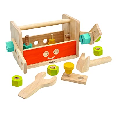 PlanToys Wooden Transforming Robot Tool Box with Wrench, Nuts & Bolts, Wooden Planks, and Shapes| Sustainably Made from Rubberwood and Non-Toxic Paints and Dyes: Toys & Games