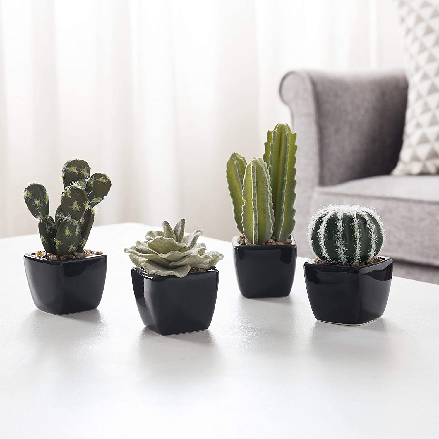 MyGift Mini Faux Assorted Succulent Plants in Black Ceramic Planters, Set of 4