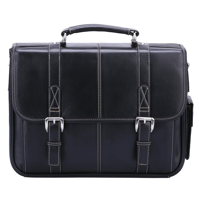 Banuce Black Genuine Leather Briefcase for Men 2way 13 inch Laptop Tote Shoulder Business Messenger Bag