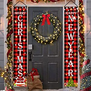Bonsai Tree Merry Christmas Decorations Outdoor, Buffalo Plaid Happy New Year Hanging Banners, Snowman Welcome Farmhouse Porch Signs for Home Front Door Wall Yard Lawn Indoor Party Decor, 12