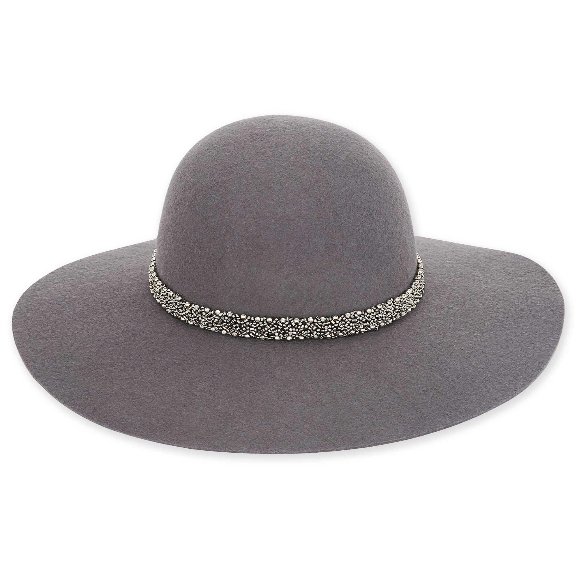 Adora Hats Wool Felt Floppy Hat (Grey)
