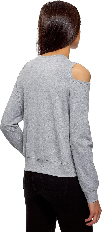 oodji Ultra Womens Cold Shoulder Cotton Sweatshirt