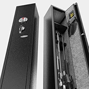 aokur Gun Safe for Rifles and Shotguns, Bio-Metric 4 Rifle Safes for Home Rifle Gun and Pistols, Quick Access Metal Rifle Gun Security Cabinet
