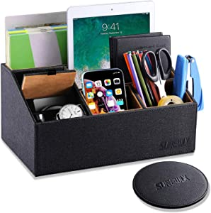 Sunewlx Desk Organizer, Handmade Premium Leather Desktop Organizer/bedside table organizer with cover for office & home, 6 Compartments & Large Capacity, Perfect Gift Idea (Black)