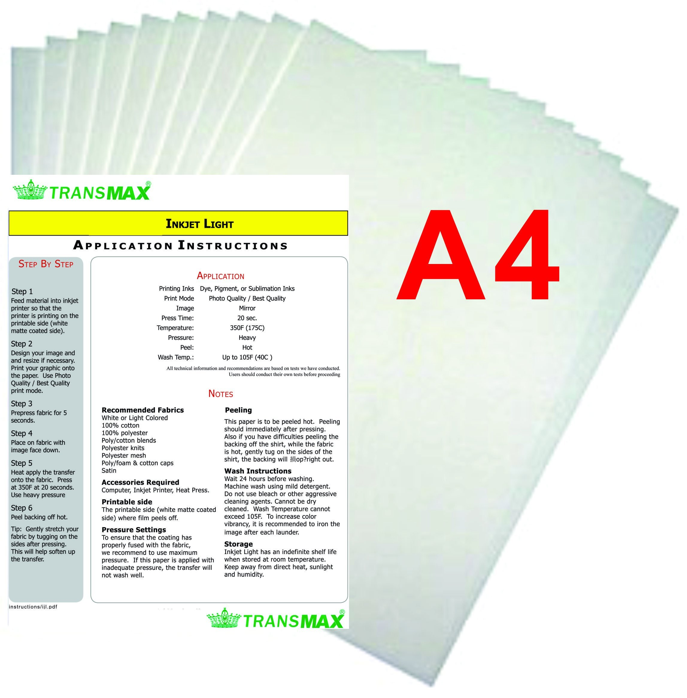 15x15'' Flat Heat Press A4 Epson Printer Paper Ink CISS Start-up KIT T-shirts by TRANSGERWORLD (Image #7)