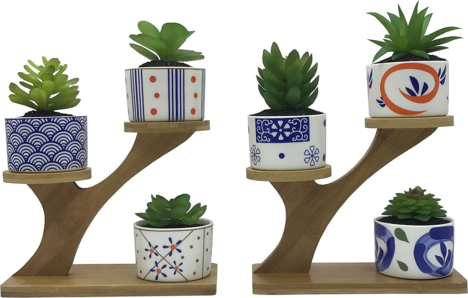 6 PCS Coloful Japanese Style Ceramic Succulent Plant Pots, with 2 PCS 3 Tier Treetop Shaped Bamboo Flower Pot Stands Holder Plants Not Included