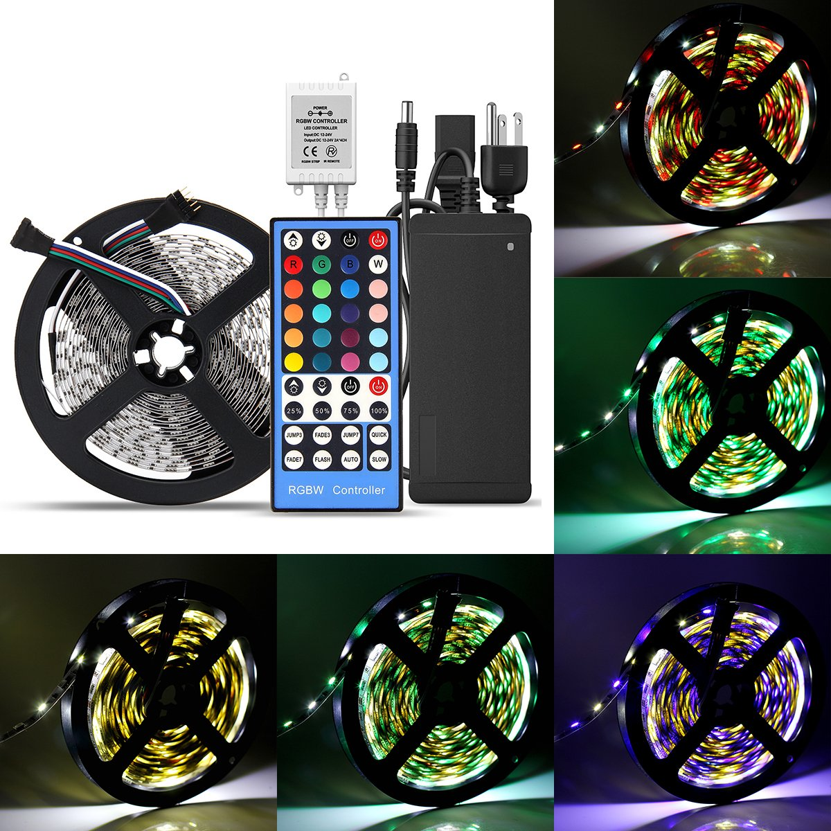 SUPERNIGHT LED Light Strip, Color Changing 16.4ft RGBW LED Strip [SMD 5050 DC 12V 300 Leds] With 40-Keys IR Controller & Power (Can Be White Color, RGB Color, RGB+White Color, All In One Strip)