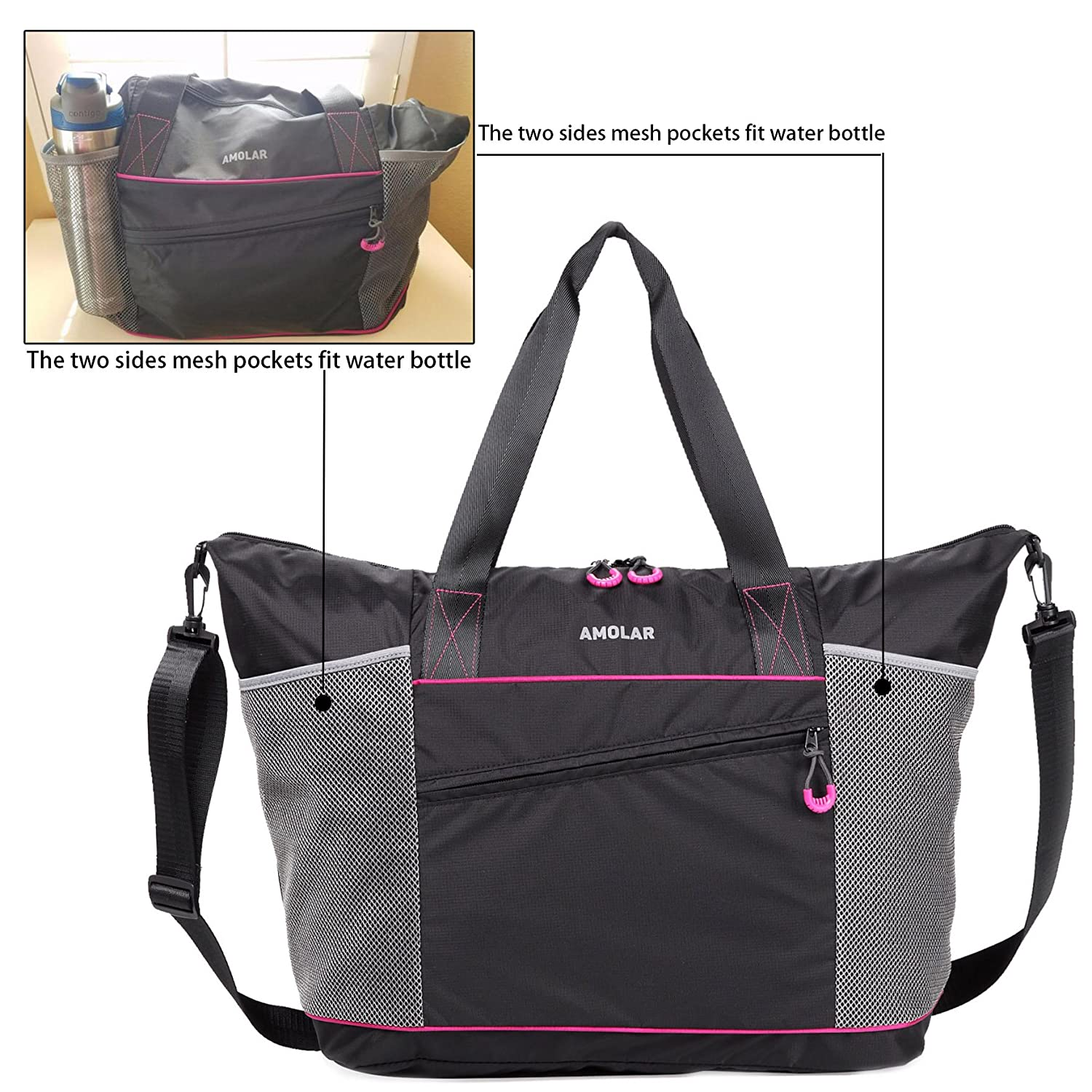 ed7e604c037a Amazon.com  Gym Tote Bag with Roomy Pockets Best for Women  1 Top  Recommended Rave Reviews  AMOLAR