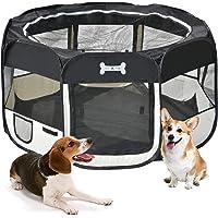 MC Star Portátil Parque Corral Oxford Cachorro Animales para Perros, Gatos, Conejos y Pequeño Animales, 125 x 125 x 64 cm (Negro)