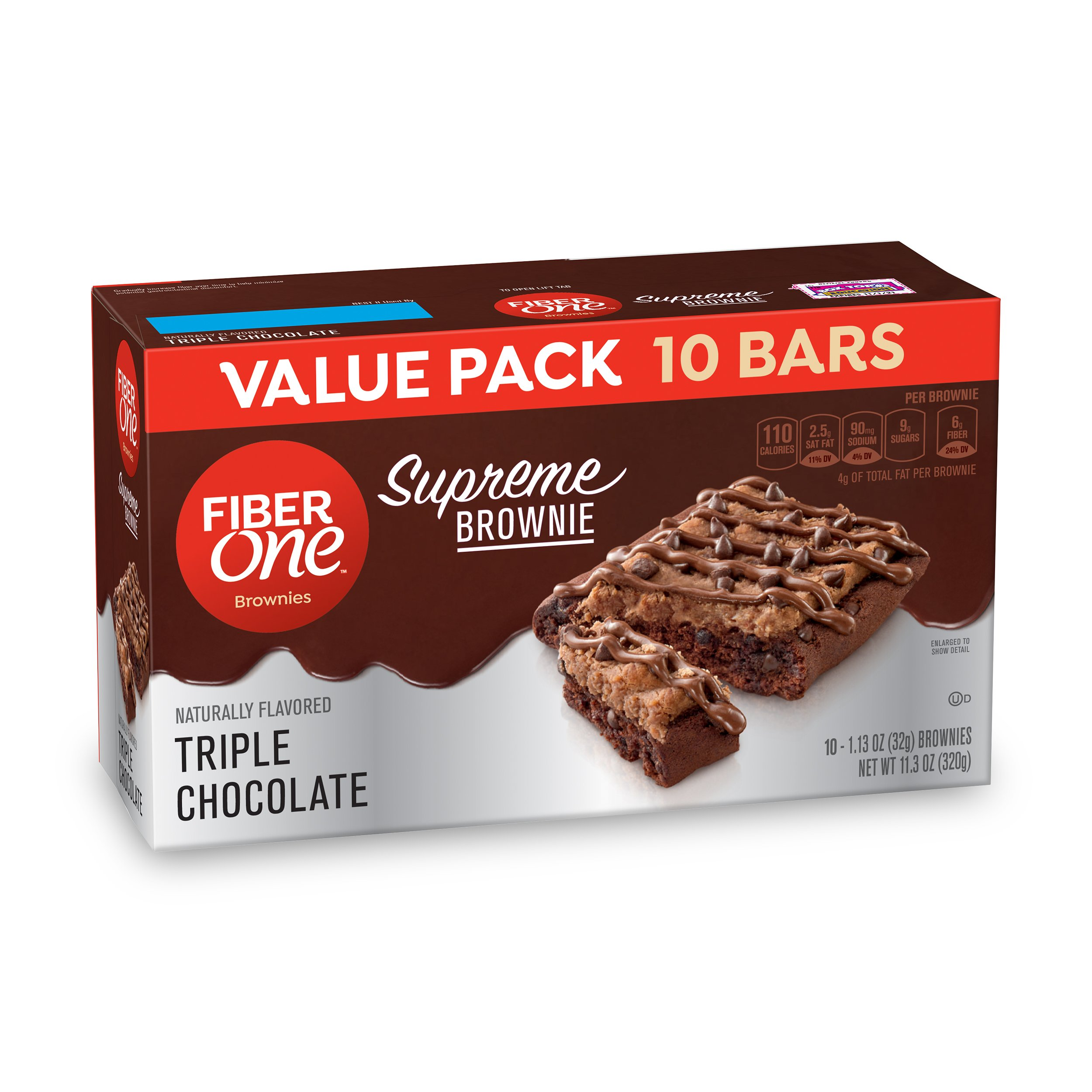 Fiber One  Supreme Brownie Triple Chocolate, 10
