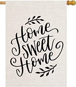pingpi Home Sweet Home 28 x 40 House Flag Summer Double Sided, Home Sweet Home Burlap Garden Yard Decoration Seasonal Outdoor Decor Decorative Large Flag