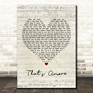 That's Amore Script Heart Song Lyric Print