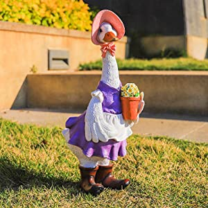 Nileco Duck Decorative Craft for Patio Lawn Yard,Cute Duck Garden Statues,Resin Funny Garden Statues Handmade Animals Statues Decor Outdoor Duck Figure Ornaments-Mother 23x14x35.5cm(9x5.7x14inch)