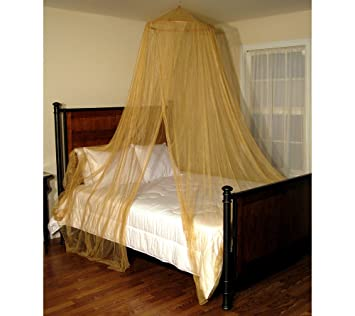 Oasis Round Bed Canopy Net Color: Gold