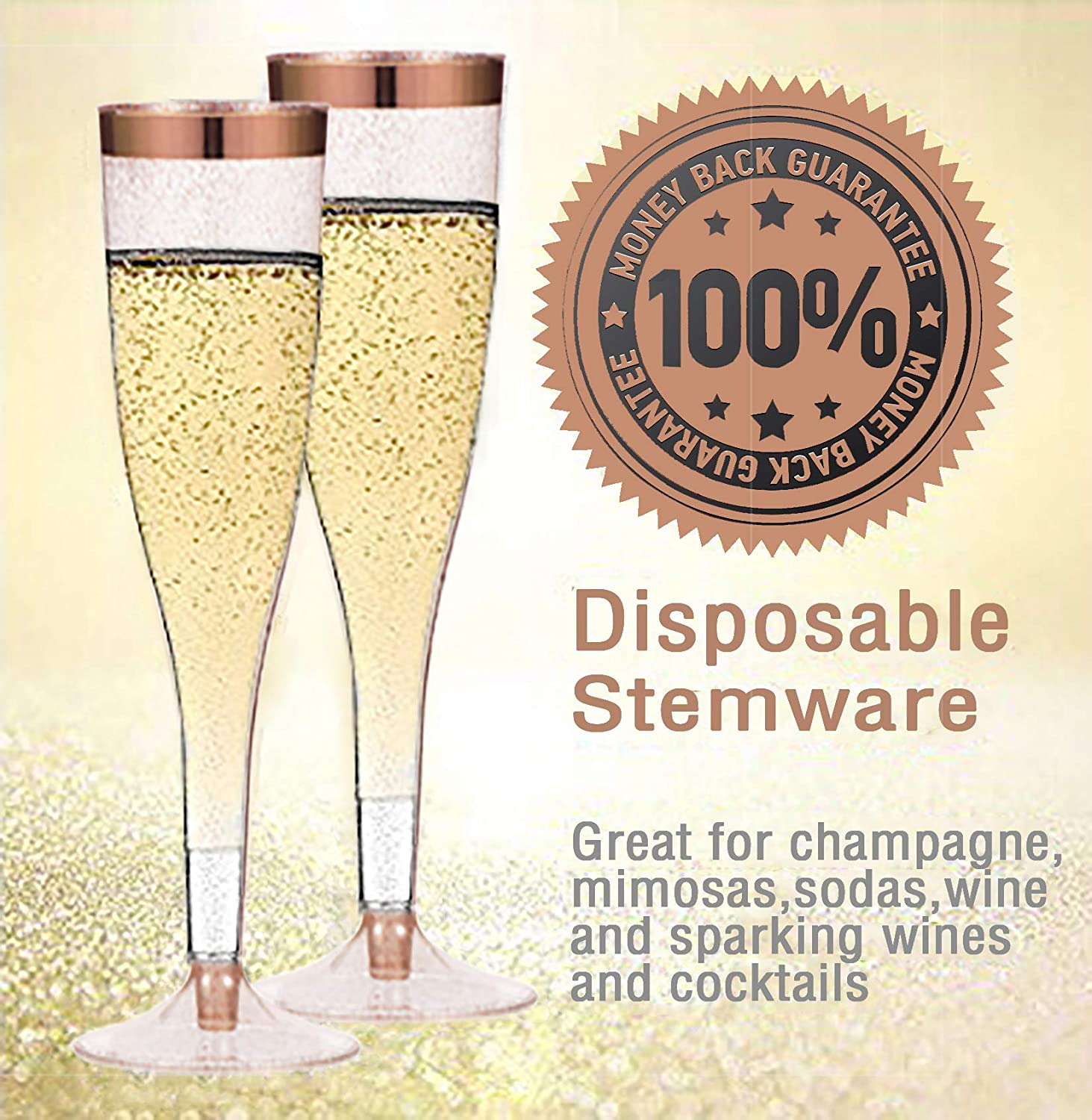Special Events Practical and Easy to Use Gold Glittery Rim Elegant Design 6.5 Oz Capacity Gold Plastic Champagne Flutes 50-Pcs Disposable Tall Stem Wine Glasses Ideal for Parties