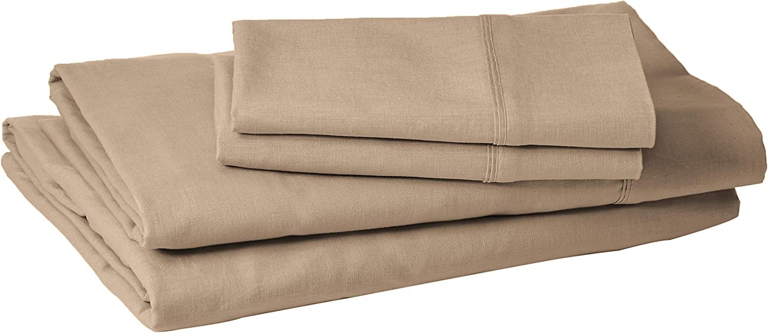 Kenneth Cole Reaction Home Luxury Sheet Set - Ultra Soft and Comfortable Sleep Experience - 55% Linen / 45% Cotton - 4 Piece Set (Full, Taupe)