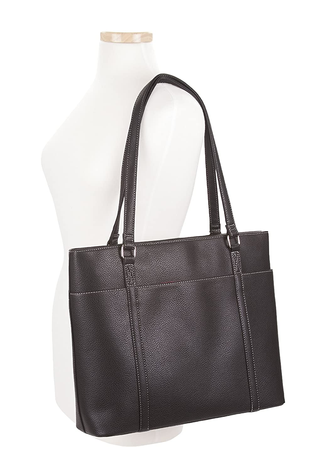 9705e658d Amazon.com: Overbrooke Classic Laptop Tote Bag - X-Large Premium Vegan  Leather Womens Shoulder Bag for Laptops up to 15.6 Inches: Computers &  Accessories