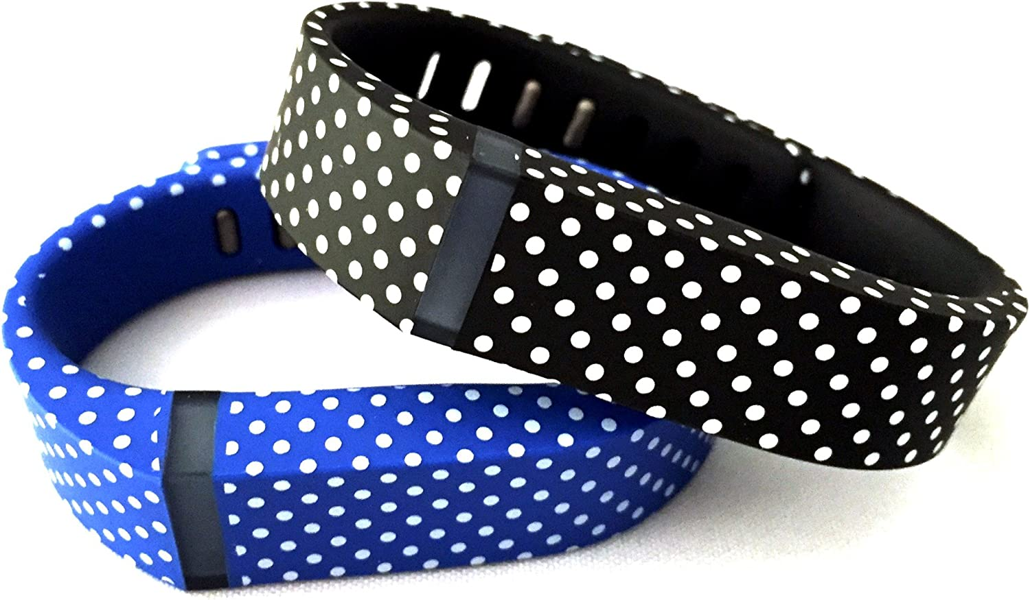 NICKSTON Small 1 Blue with White Dots 1 Black with White Dots Spots Band Compatible with Fitbit Flex Only with Clasps Replacement Strap Bracelet No Tracker