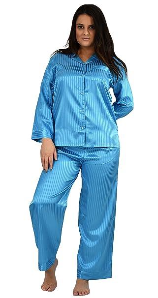 0a7e58a54f Up2date Fashion Womens Striped Satin Pajama Sets PJ Sets at Amazon ...