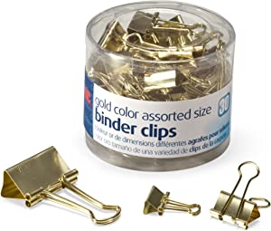 Officemate Binder Clips, Gold, Assorted Sizes, 30 Clips in Tub (31022)