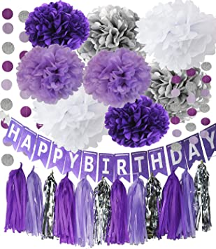 Amazon.com: Color morado decoraciones de fiesta color morado ...