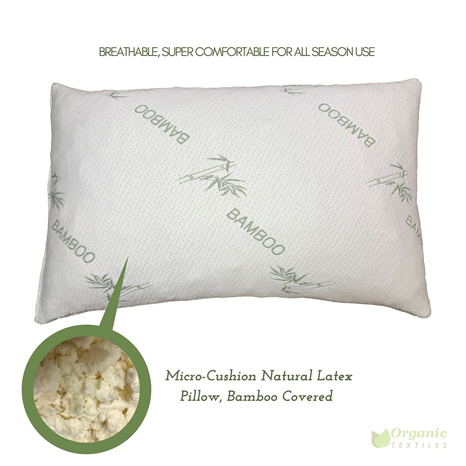 Amazon.com: All natural micro cushion Comfort latex pillow with Bamboo  Covering. Made in USA. Hypo-allergenic, dust mite resistant.. King Size.