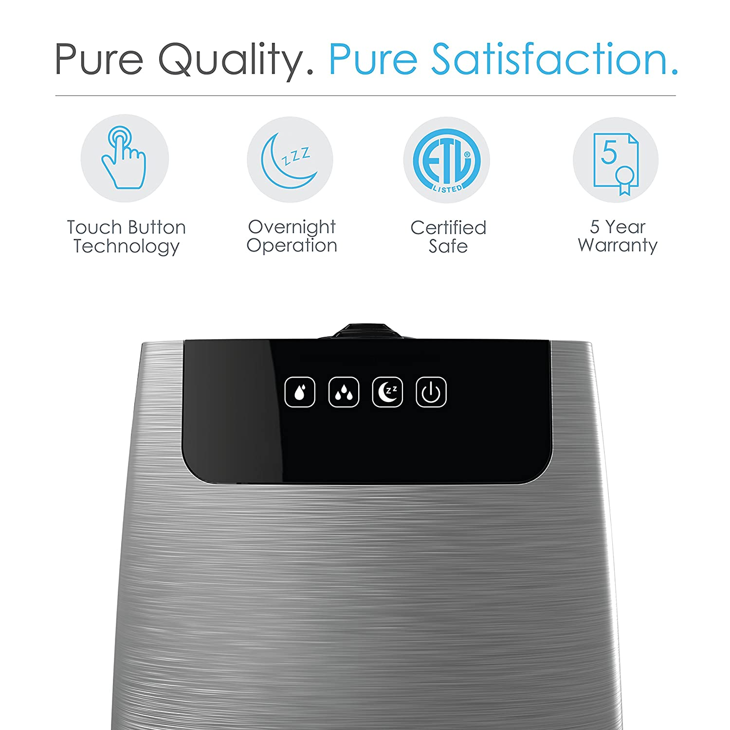 Pure Enrichment HumeXL Ultrasonic Cool Mist Humidifier – Large, Easy-to-Clean 5-Liter 1.3 Gallon Water Tank, Touch-Button Control, High Low Mist, 2 Independent 360 Mist Nozzles and Night Mode