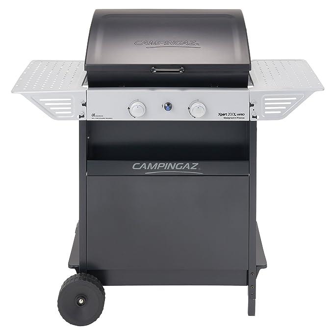 Campingaz Xpert 200 L Vario Barbacoa Gas, BBQ gas con 2 quemadores, 7.1kW de portencia, Parrila y Plancha de acero esmaltado , 2 Mesas laterales y ...