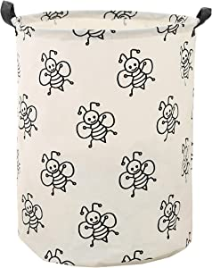 LANGYASHAN Storage Bin,Canvas Fabric Collapsible Organizer Basket for Laundry Hamper,Toy Bins,Gift Baskets, Bedroom, Clothes,Baby Nursery (Bee)