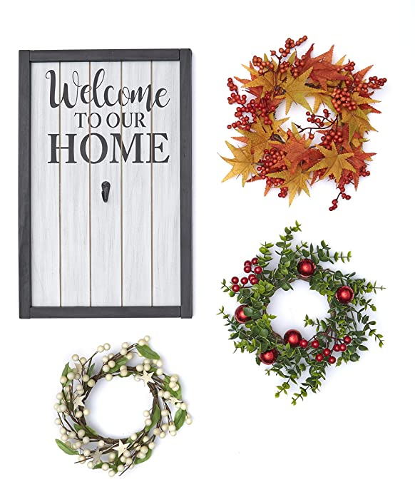 The Lakeside Collection Home Sign and Wreath Set for Fall and Holidays - 4-Pc. Interchangeable