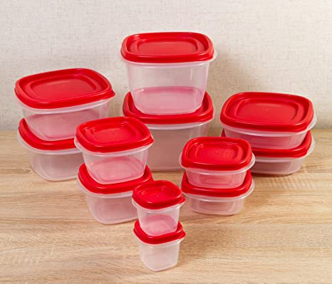 Rubbermaid Easy Find Lids Food Storage Containers, Racer Red, Set of 24 7J98