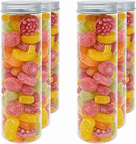 Imagen deLuxury & Grace Pack 6 Botes de Polietileno Alimentario, 0,40 L (20x5cm). Tarros con Tapa de Aluminio Enroscable. Reciclables. 100% Libres de BPA.
