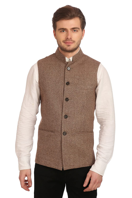 Wintage Men's Tweed Bandhgala Festive Nehru Jacket Waistcoat -3 Colors wc116tweedwool