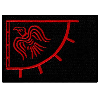 b1556ab1e0e31b Image Unavailable. Image not available for. Color: Raven Banner Red Viking  Flag Embroidered Patch Iron-on Norway Historic Emblem