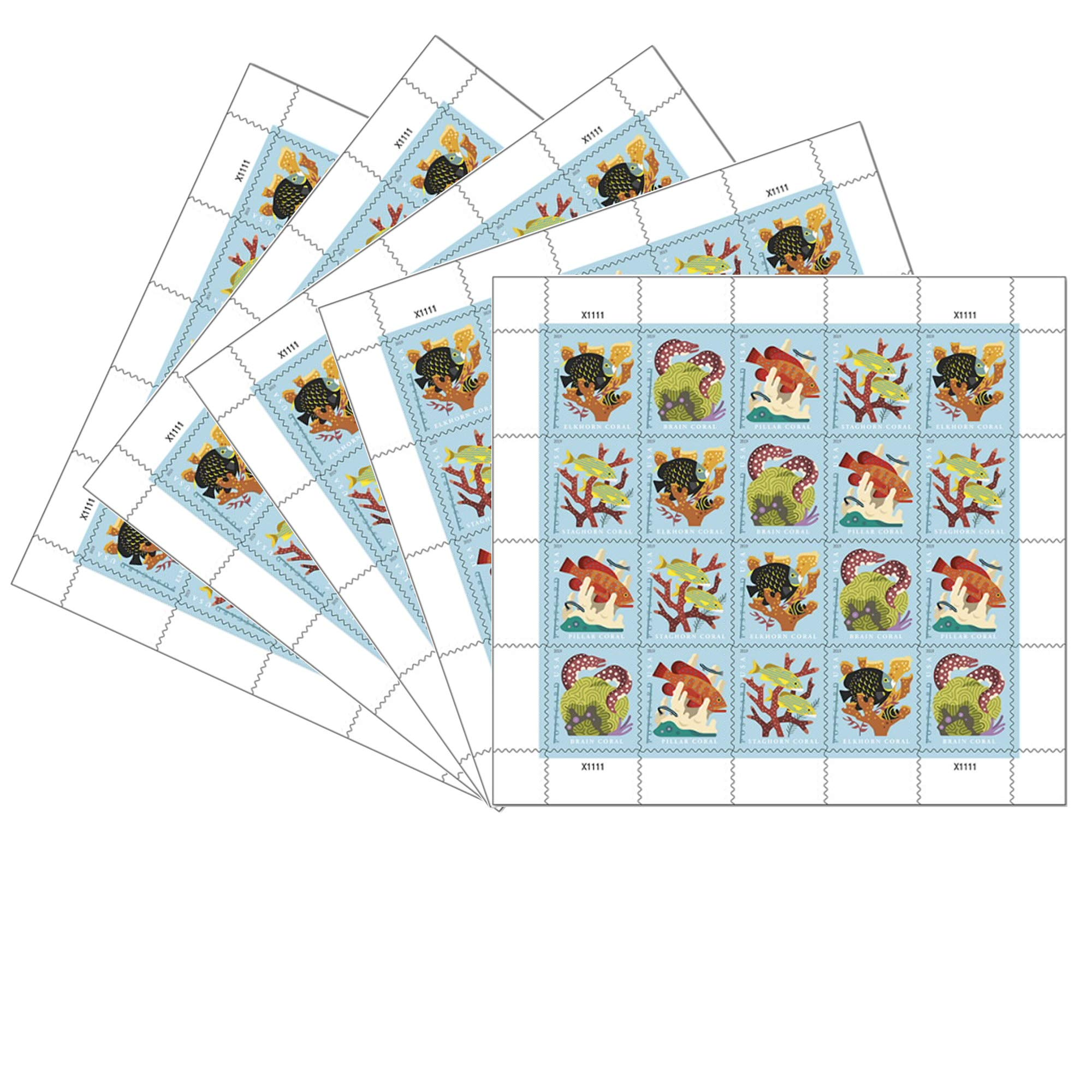 Coral Reefs Postcard 5 Sheets of 20 First Class Forever Postcard Postage Stamps Sea (100 Stamps)