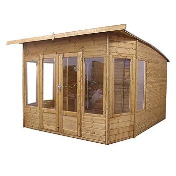 10 x 10 Madera Summerhouse – jardín Oficina – Cobertizo (T & G, Inclinado
