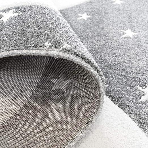 Kinderteppich Flachflor Bueno mit Hase Sternen in Grau Rosa mit Konturenschnitt f/ür Kinderzimmer; Gr/ö/ße 80x150 cm