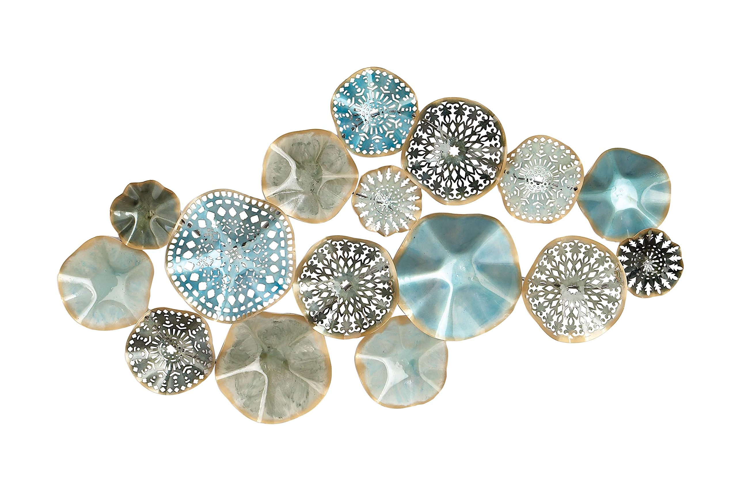 Deco 79 23488 Metal Wall Decor, Turquoise/Black/Light Blue/Gold by Deco 79